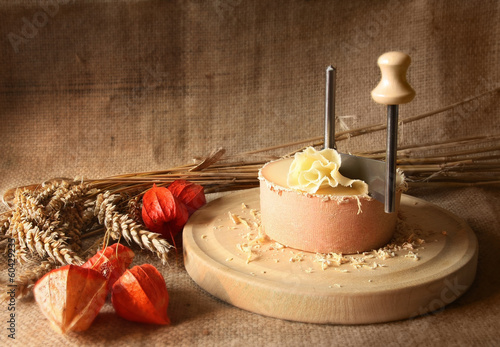 Vintage Still Life of Swiss Cheese specialty tete de moine