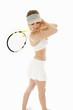 Female tennis player holding racket, isolated on white backgroun