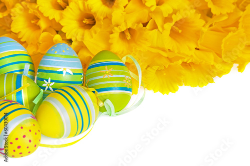 Green and Blue Striped Easter Eggs with Yellow Daffodils