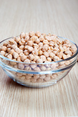 dried chickpeas, legumes, in a bowl