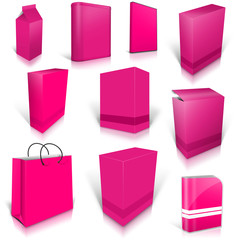 Ten pink blank boxes isolated on white