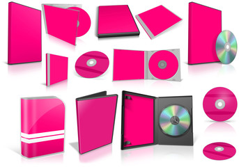 Pink multimedia disks and boxes on white