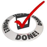Done Check Mark in Checkbox Mission Job Accomplishment Complete poster