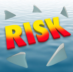 Risk Word Shark Fins Water Danger Deadly Warning Caution
