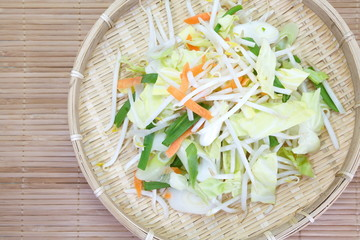 Bean Sprouts and fresh vegetable prepare for cooking