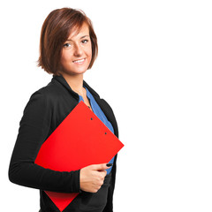 Businesswoman holding some documents