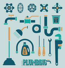 Vector Set: Retro Plumbing Icons and Symbols