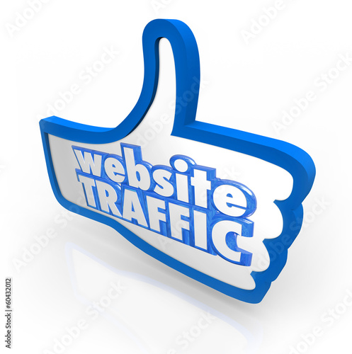 Website Traffic Thumb Up Increase Visitors Online Reputation