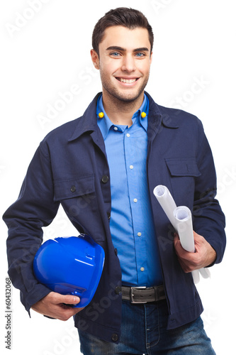Smiling engineer isolated on white