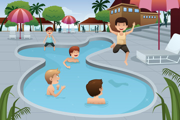 Kids playing in an outdoor swimming pool