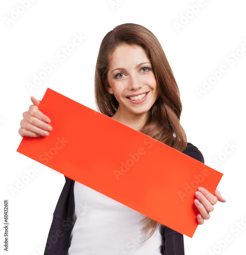Cute long-haired girl with red placards