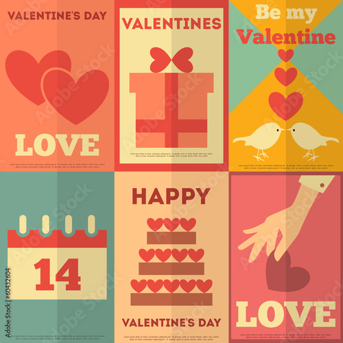 Retro Valentines posters collection