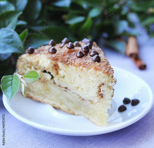 Chocolate chip coffee cake with brown sugar