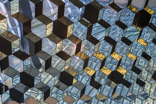 Details of hexagonal glass roof of Concert Hall, Reykjavik