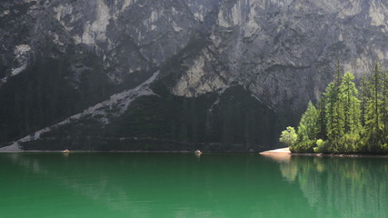 Canoes on the lake: kayaks at lake Pragser Wildsee