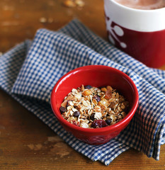 Healthy granola or muesli with dried fruits, nuts