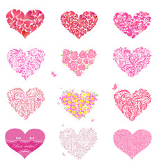 Set of beautiful floral and lacy hearts