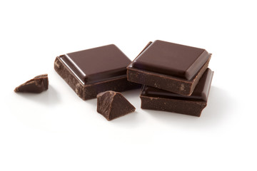 pieces of chocolate on white