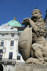 Statue of Lion near Hofburg Palace Wien
