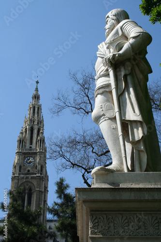 Wiener Rathaus spire and statue