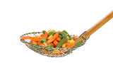 Vegetables in a sieve