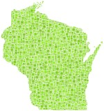 Decorative map of Wisconsin - USA - in a mosaic of green squares
