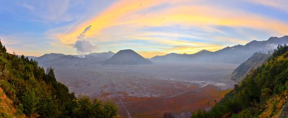 Panorama of Bromo at sunset, Java, Indonesia