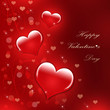 Valentine's day red background with hearts. illustration