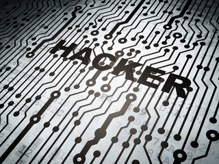 Privacy concept: circuit board with Hacker