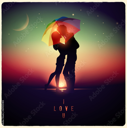 illustration of a couple kissing with a vintage effect
