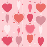 Seamless background with garland of hearts