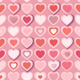 Seamless background with pink paper hearts, eps10