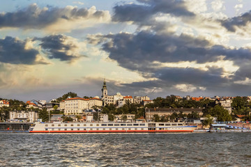 Belgrade Tourist Port And Town Skyline Viewed From Sava River Pe