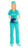 Nurse with stethoscope writes notes