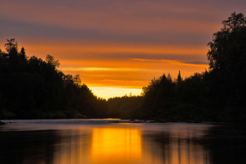 White Night on the River Pana. Kola Peninsula. Pana River.
