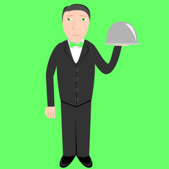 waiter, vector illustration
