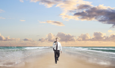 happiness businessman walking