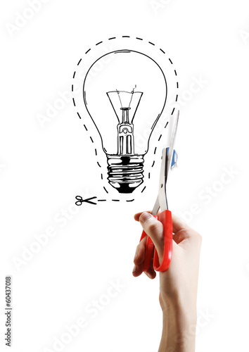 hand scissor lightbulb