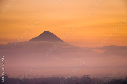 Sunrise Mountain Landscape of Mount Merapi Volcano from Borobudu