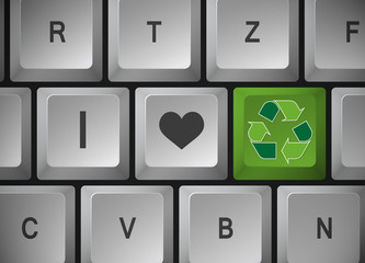 "Computer Tastatur "" I Love Recycling """