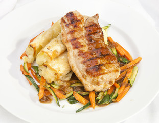 Pork Loin End with Potato rolls  and vegetable