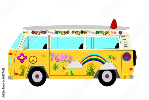 hippie mini bus from sixties
