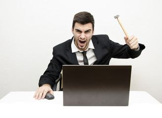 Businessman Desk Rage