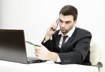 Young Businessman problem solving