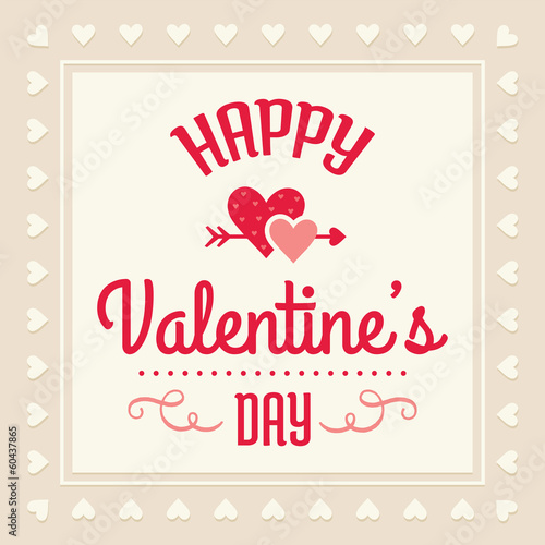 happy valentines day card in cream and red