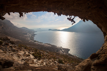 Silhouette of a rock climber at sunset, Kalymnos, Greece