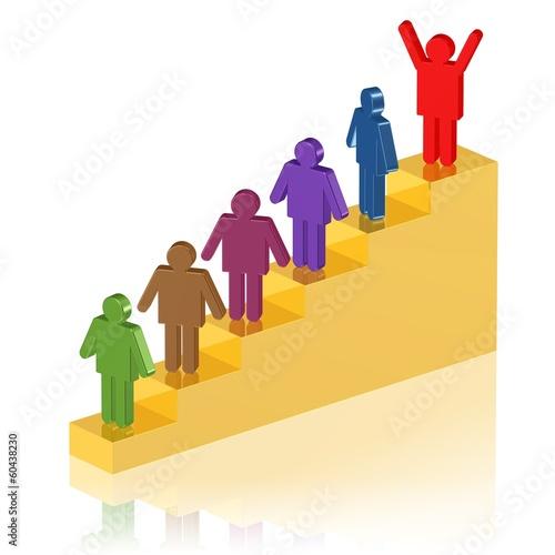 Karriere-Treppe - Einer steht ganz oben