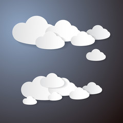 Vector Clouds Cut From Paper on Grey Background