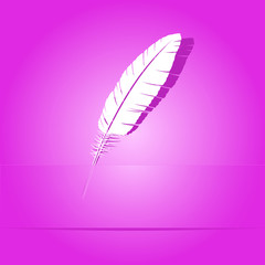 Feather. Paper sticker. Vector illustration.