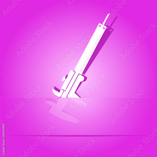 Caliper. Paper sticker. Vector illustration.